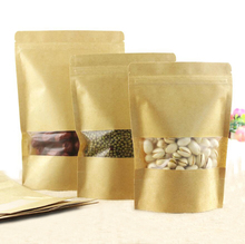 100 Pcs Stand-up Kraft Paper Food Gift Bags With Frosted Window, Zipper Closure Shopping Bag Pouch for Snack Cookies Candy