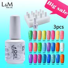 3 Pcs Lot IDO Gelpolish 15ml Candy Cheese Gel Uv Led DIY Nail Polish Artist Product Color Nails Professional base and top(China)