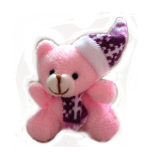 One piece,H=5.5cm,W=13G,pink,soft mini Christmas bear keyring,Christmas tree pendent decoration,Stuffed bear with Christmas hatt