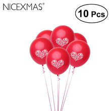 10pcs Wedding Balloon Birthday Party Print Love Heart Latex Balloons Celebration Decorative Valentine'S Globos(China)