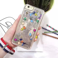 New Fashion love Liquid Glitter meteor sand sequins Colorful Dynamic transparent Hard Mobile Phone cases For iphone 6 6S 7 plus
