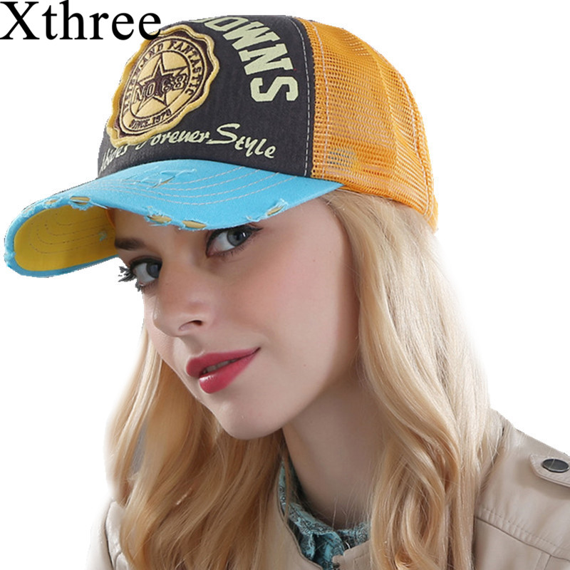 Xthree summer baseball cap snapback hats casquette embroidery letter cap bone girl hats for women men