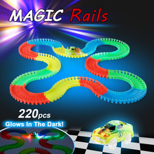 220Pcs Track Car Diecast Flashing Electronic Track LED Light up Race Car Electronics Assembly Rail Car for Kids Hot Glow Track(China)