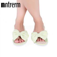 Mntrerm Hot Sale Spring And Autumn Bow House Slippers Women's Indoor Shoes Fashion Flax Home Slippers Lucy Refers To At Home(China)