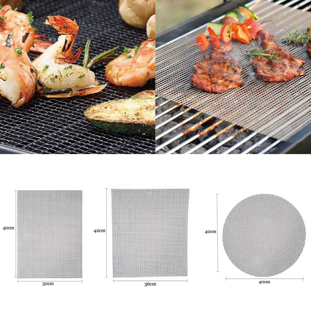 Square Non-Stick BBQ Grilling Mesh Mat Beige