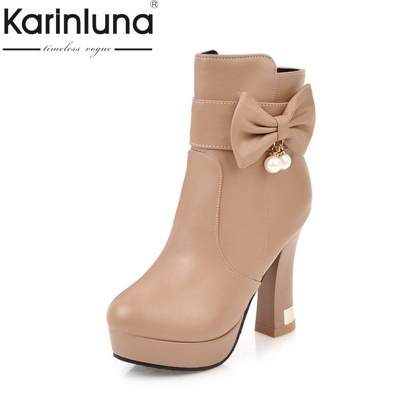 KARINLUNA 2017 Big Size 32-43 Thick Platform Bow Beads Women Shoes Woman High Heels Winter Boot White Black Ankle Boots<br>