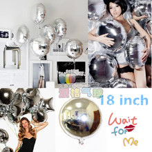 5pcs/lot 18'' Round Shape Silver Colorful Mylar Balloons Inflatable Plain Ballon Helium Foil Ball For Wedding Party Suppiles