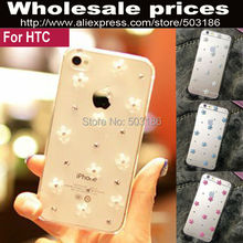 Diamond Rhinestone White Small Flower case For HTC One M7 M8 M9 M10 E8 A9 E9 Plus Mini M4 601e mini 2 Desire 10 Lifestyle pro