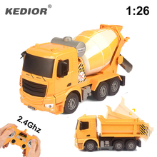 RC Truck 2.4G Remote Control Machine 1:26 Radio Controlled Car with battery Cement Mixer Dump Truck Model Toys(China)