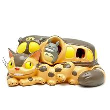 1Pcs Cute Hayao Miyazaki Totoro Cat Bus Open cover Figure Toy Big Bus Totoro Resin Action Figure Toys DIY Storage Box Kids Toy