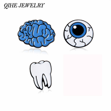 QIHE JEWELRY Cartoon Cute Brain Eye Tooth Metal Brooch Pins Button Pins Girl Gift Fashion Jewelry Wholesale(China)