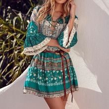 2017 Summer ZANZEA Women Printed Mini Dress Ladies Sexy V Neck Lace Up 3/4 Sleeve Ruffled Casual Beach Dress Vestidos Plus Size