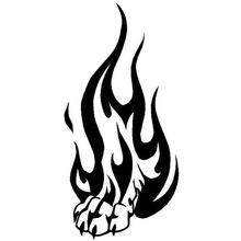 7.9*16.5CM Tribal Flame Wolf Paw Print Personalized Car Sticker Classic Motorcycles Decorative Decals C6-1068