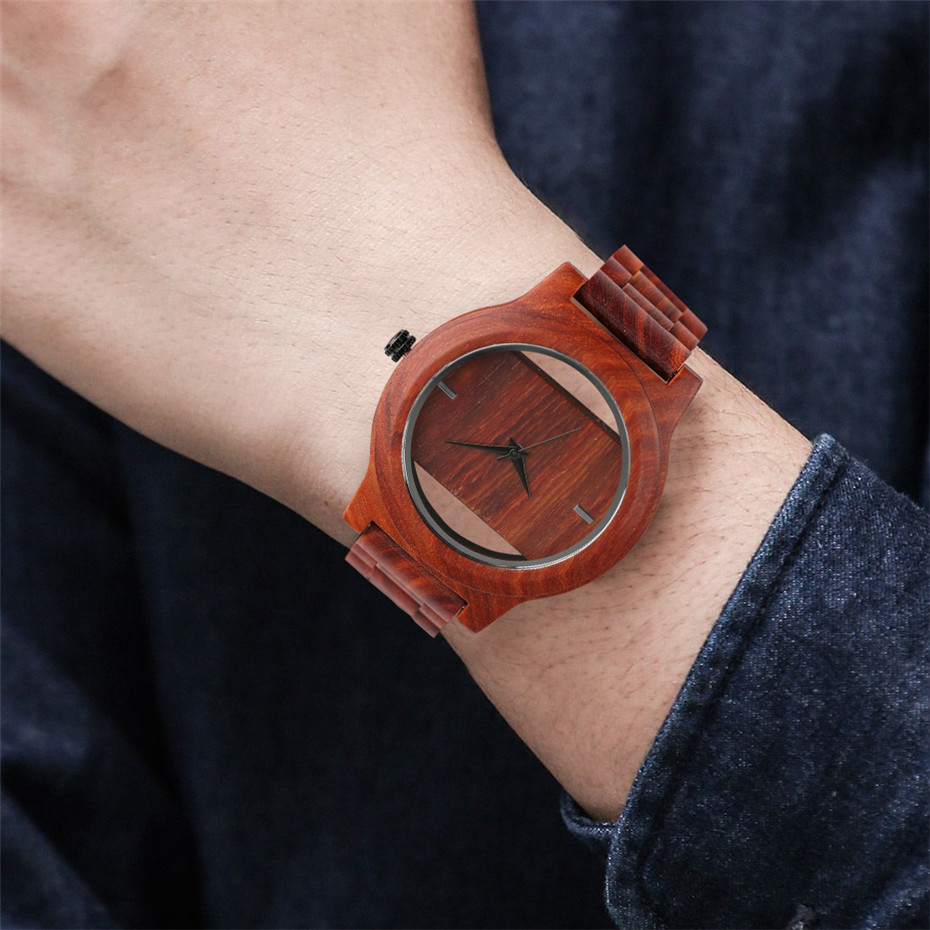 Different color Creative Fashion Casual Sport Simple analog Hollow Bamboo Wooden Men Unique Handmade Wood Quartz Wristwatch+Gift Bags (23)