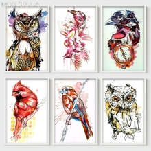 MYCELLA Diy Diamond Painting Colorful Animal Illustrations Cross Stitch FULL Diamond Embroidery Owl Picture Diamond Mosaic Gift
