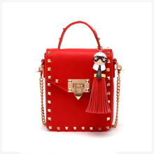 Women's winter style red gold metal lock fake leather rivets tassel small mini shoulder  bag studs chain shoudler coin purse