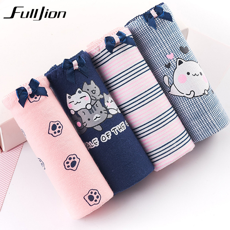 Fulljion 4Pcs / Lot Hot Sale Cats Panties New Sexy Calcinha Female Casual Cute Girl Tanga Cotton Underwear printed Women Briefs