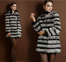 New Fashion Chinchilla Fur Coat For Women Genuine Fur Outerwear Thickening Ladies Natural Fur Overcoat Real Rex Rabbit Fur Coats