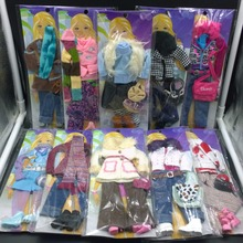 Fashion Clothes Set and Accessories For Barbie doll 30cm Dress Shoes Scarf Handbag Coat Suit For Monster High Dolls