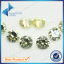50pcs 5A 0.8-6.0mm Light Olive Color Loose Cubic Zirconia CZ Stone Round Shape European Machine Cut Synthetic Gemstone