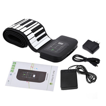 Portable 88 Keys Keyboard Piano Silicone Flexible Roll Up Piano Foldable Keyboard Hand-rolling Piano with Battery Sustain Pedal