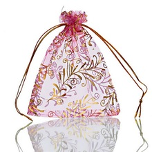 MJARTORIA 125PCs Pink Organza Drawstring Gift Bags Golden Color Flower Organza Pouches Little Wedding Favor Gift Bags 9.7x11.5cm