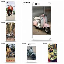 Exunton For Apple iPhone 4 4S 5 5C SE 6 6S 7 8 Plus X Soft TPU Cell Phone Cases Vespa Scooter(China)