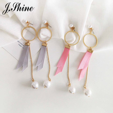 JShine 3 Colors Summer Simple Long Earrings for Women Gold Color Grey Pink Red Ribbon Imitation Pearl Fashion Earrings Jewelry