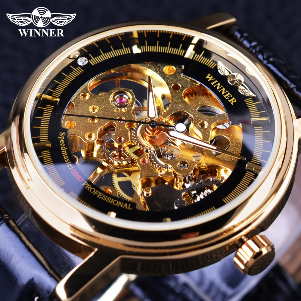 Winner 2017 Professional Series Transparent Golden Case Diamond Display Gear Skeleton Mens Top Brand Luxury Mechanical Watches<br><br>Aliexpress