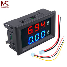 "Mini Digital Voltmeter Ammeter DC 100V 10A Panel Amp Volt Current Meter Tester 0.28"" Blue + Red Dual LED Display Free Shipping(China)"