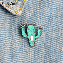 Miss Zoe Kitten Paws Cat Face Funny Cactus Plant Brooch Button Pins Denim Jacket Pin Badge Cute Animal Jewelry Gift for Kids(China)