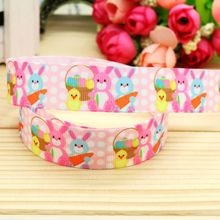 7/8'' Free shipping easter printed grosgrain ribbon headwear hair bow diy party decoration wholesale OEM 22mm B1275