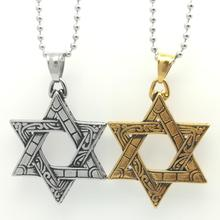 Looker Israel Star Hexagram Pendant Necklaces Magen David Steel/Gold Color Jewelry Tantrism Jewish Star Solomon Seal(China)
