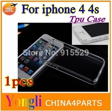 Cheap Bargain~~10pcs NEW  for iphone 4 4s Crystal clear transparent tpu case cover case  Free shipping
