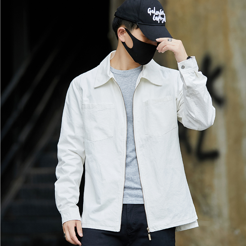 High Quality Autumn New White Jackets Men Brand New Long Sleeve Mens Casual Jacket Turn Down Collar Plus Size Windbreaker 5XL-M