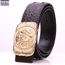 High Quality Skull buckle luxury belts mens lion button Crocodile Grain designer wide belts Cowskin genuine leather(China)