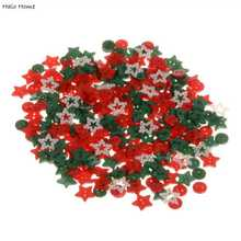 Top Quality 2 Holes Decorative Mixed Sewing Buttons Scrapbook Resin Promotions Christmas Color 200 Pcs 9-13mm(China)