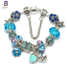 BAOPON High Quality Best Wish For Family Love Heart Crystal Charm Bracelets For Women Fashion Beads DIY Jewelry Gift BR450