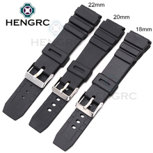 HENGRC Rubber Watchbands 18 20 22mm Men Sport Diving Silicone Watch Band Strap With Silver Steel Metal Pin Buckle For Casio