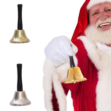 Christmas Bells Decoration Wooden Handle Christmas Bell Kindergarten Kids Order Ring Handbell Dinner Wood Shop Hotel Xmas(China)