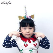 2017 Novelty Glitter Metallic Unicorn Hairbands Felt Unicorn Horn Hair Jewelry,Unicorn Party Hair Accessories for girls(China)