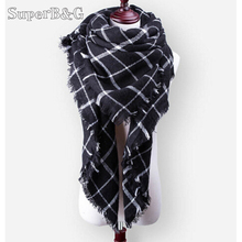 SUPER B&G New Winter Scarf  For Women Scarf Luxury Plaid warm Cashmere Scarves Women Winter blanket Triangle Bandage 140*140*210