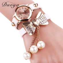 Duoya Brand Watch Women Fashion Butterfly Bow Pearl Casual Leather Bracelet Wristwatch Women Dress Cheap Electronics Watch XR533(China)