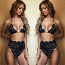 Buy Women's Hot Summer Beach Bikini Set Sexy Halter Lace See High Waist Swimming Beach Swimwear