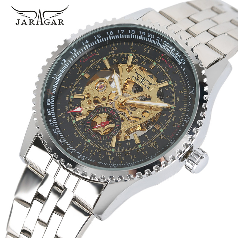 JARAGAR Top Brand Men Mechanial Automatic Self-Wind Wristwatch Stainless Steel Bracelet Clasp Luxury Fashion Male Watch Gift<br>