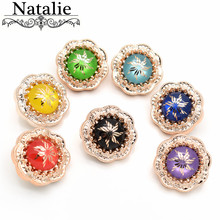 NEW 10Pcs 20MM Gold Round Rhinestone Buttons big Acrylic Diamond Decoration button DIY craft supplies Sewing Accessories