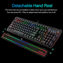Keycool KC818 Mechanical Keyboard Gaming E-sport Keyboards RGB Backlit 104 Keys Blue Switches USB Wired Detachable Hand Rest