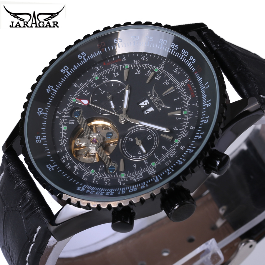 2018 Relogio Masculino Hot Sale JARAGAR Mechanical Watch Men Retro Black Big Dial Fashion Watches Male Clock Gift for Mens Male<br>