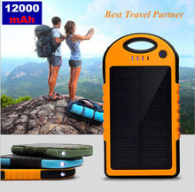 12000mAh Mobile Solar Charger External Battery Portable Waterproof Power Bank