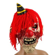 H&D Halloween Adult Horror Evil Killer Clown Mask Unisex Scary Red Hair Halloween Party Fancy Dress Costume Props